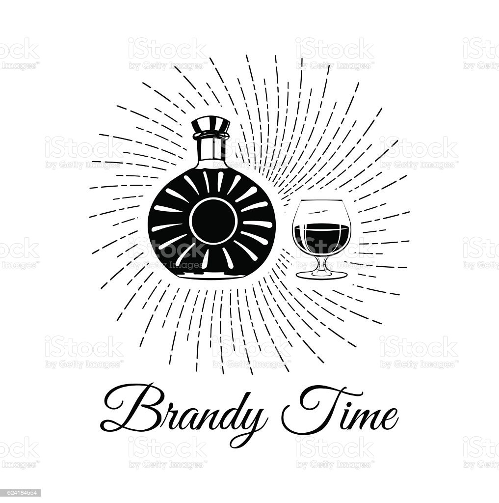 Bottle Of Brandy bourbon, whiskey, cognac And Glass. Lets drink vector art illustration