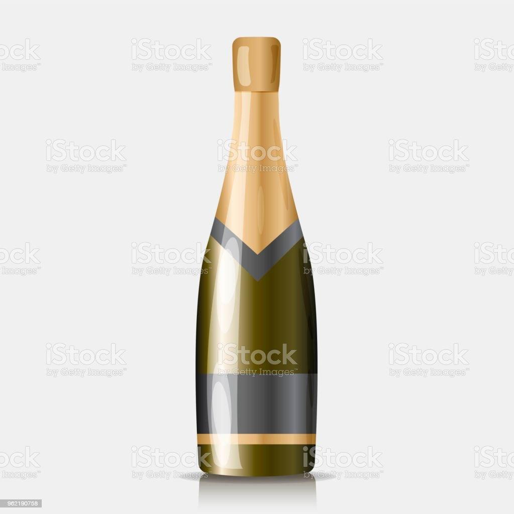Eine Flasche Champagner 3d Real Vektor Icon Champagnersymbol Des ...