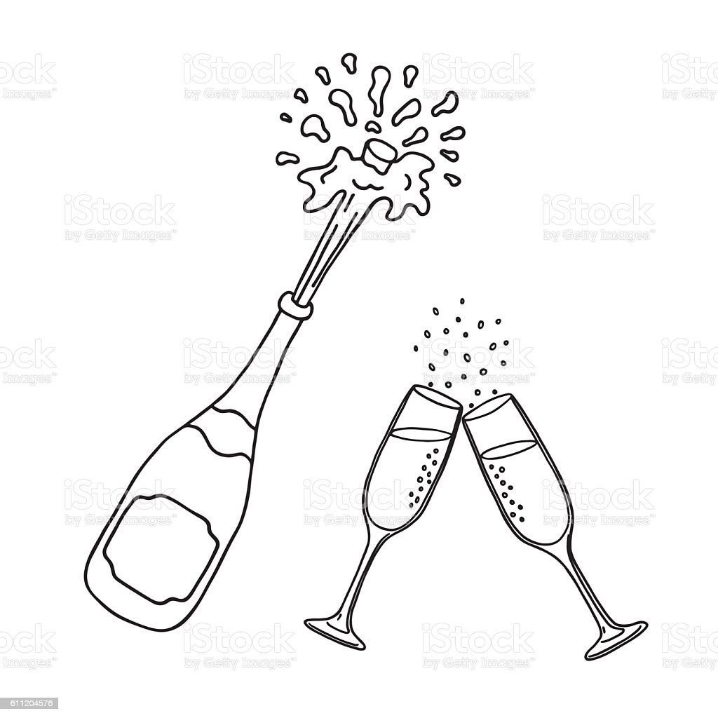 Bottle of champagne and champagne glasses vector art illustration
