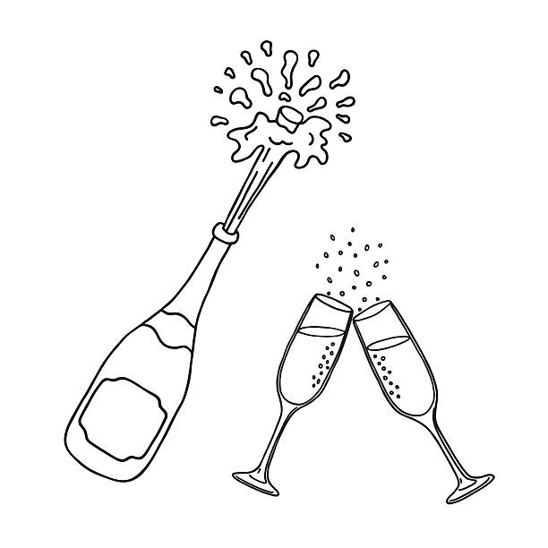 bottle of champagne and champagne glasses - champagnerglas stock-grafiken, -clipart, -cartoons und -symbole