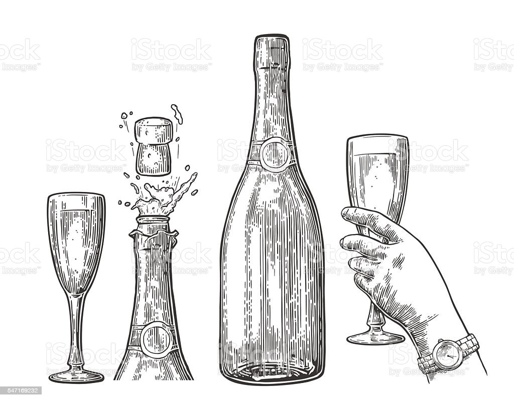 Bottle of Champagne explosion and hand hold glass. vector art illustration