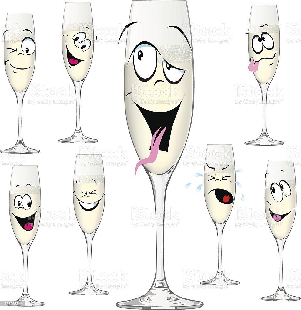 Bouteille De Champagne Dessin oiseau drôle en dessin animé bouteille de champagne – cliparts