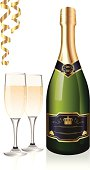 Bottle, two filled champagne glasses, and confetti. Files included – jpg, ai (version 8 and CS3), and eps (version 8