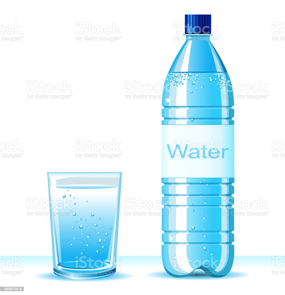 Bottle Of Clean Water And Glass On White Background Vector Illustration