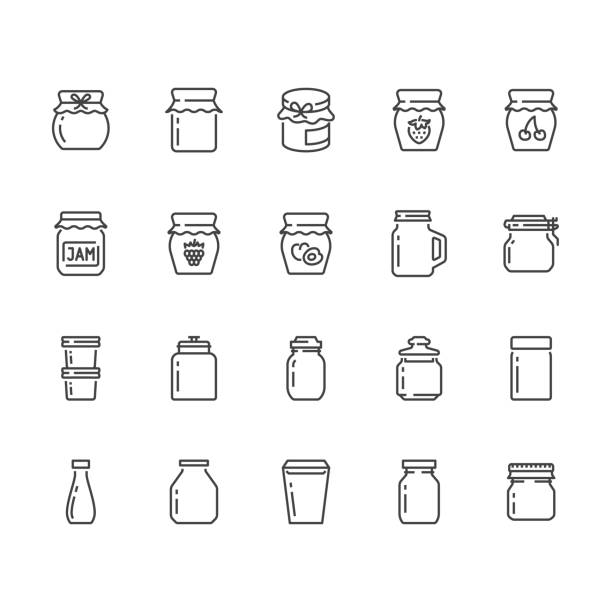 Bottle of jam flat line icons. Glass packaging for fruit confiture, raspberry strawberry jelly container vector illustrations. Thin signs for sweet food store. Pixel perfect 64x64. Editable Strokes Bottle of jam flat line icons. Glass packaging for fruit confiture, raspberry strawberry jelly container vector illustrations. Thin signs for sweet food store. Pixel perfect 64x64. Editable Strokes. jello stock illustrations