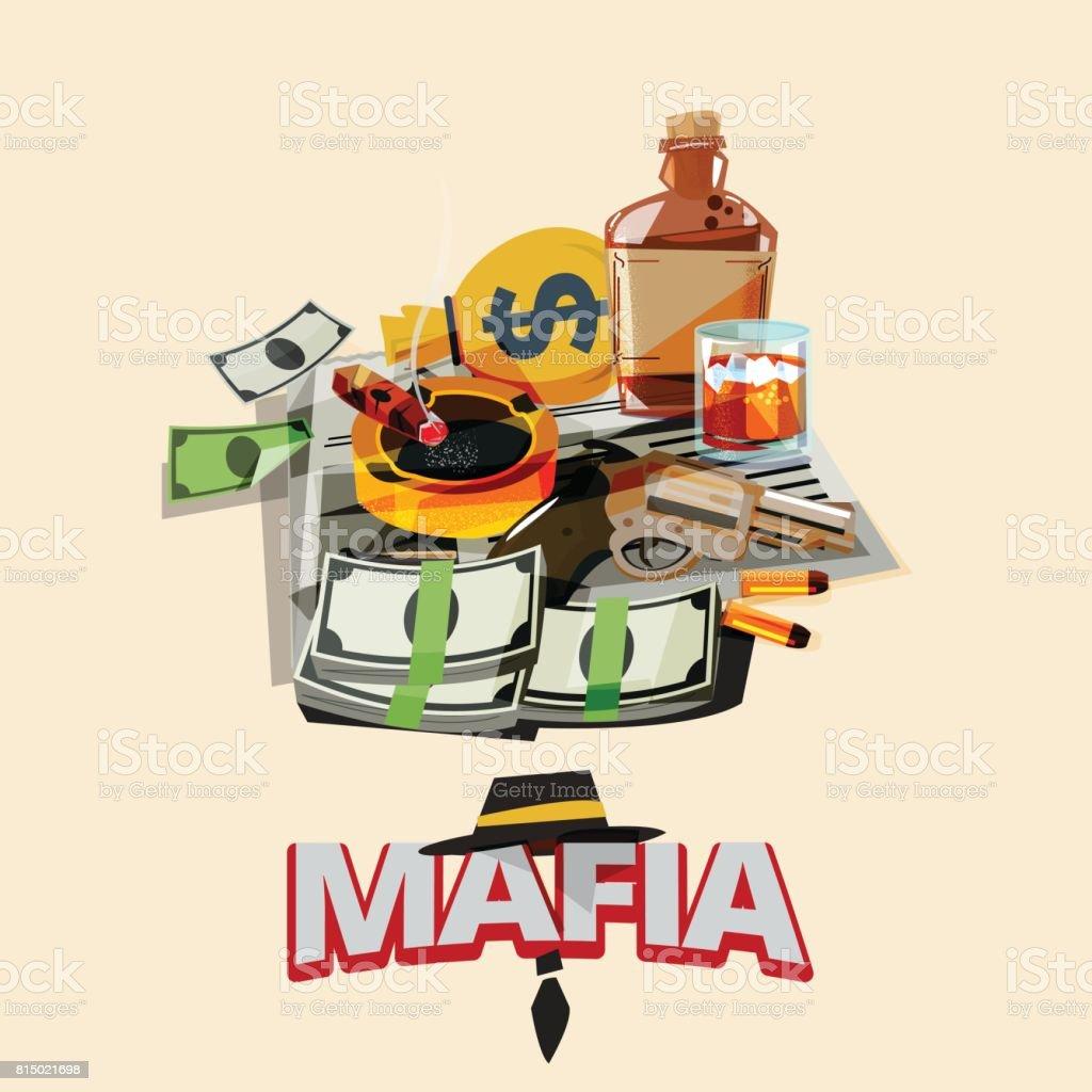 bottle of liquor, cigarette on ashtray, newspaper, gun with bullet, money. mafia and gangster concept - vector vector art illustration