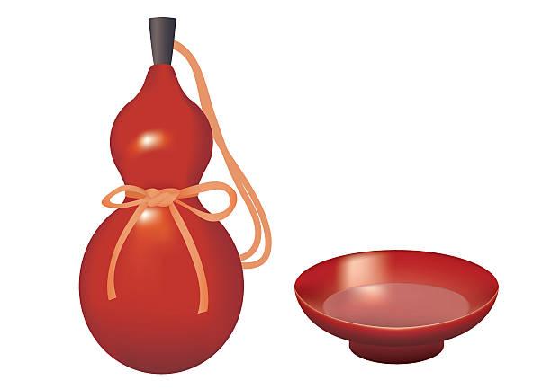 bottle of liquor of a gourd and sake cup. - flaschenkürbis stock-grafiken, -clipart, -cartoons und -symbole