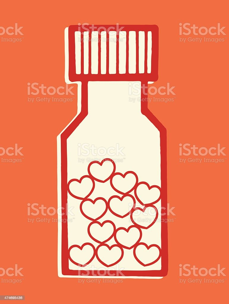 Bottle of Love Pills http://csaimages.com/images/istockprofile/csa_vector_dsp.jpg 2015 stock vector