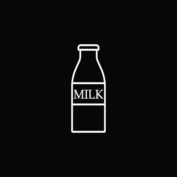 Botella del icono de línea de leche, elementos de comida bebida - ilustración de arte vectorial