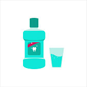 A bottle of mouthwash and a cup. Mint liquid for rinsing the mouth. Dental and oral care. Vector illustration in flat style isolated on a white background.