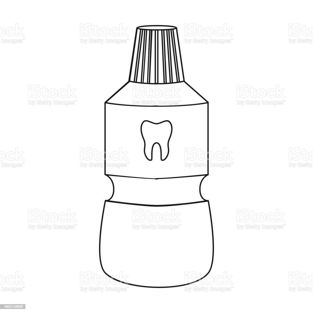 在白色背景上隔離的輪廓樣式的一瓶漱口水圖示。牙科護理符號股票向量插圖。 免版稅 在白色背景上隔離的輪廓樣式的一瓶漱口水圖示牙科護理符號股票向量插圖 向量插圖及更多 乾淨 圖片