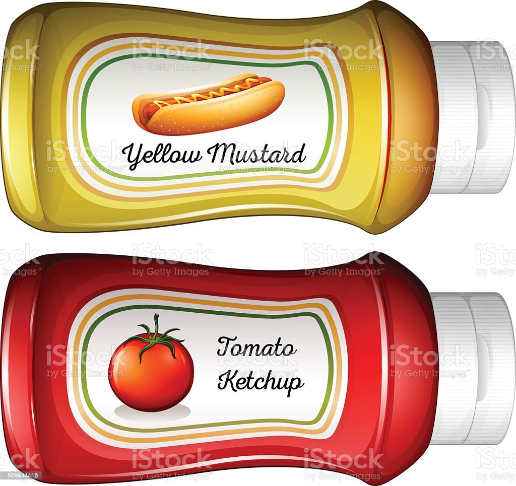 Bottle of mustard and ketchup vector art illustration