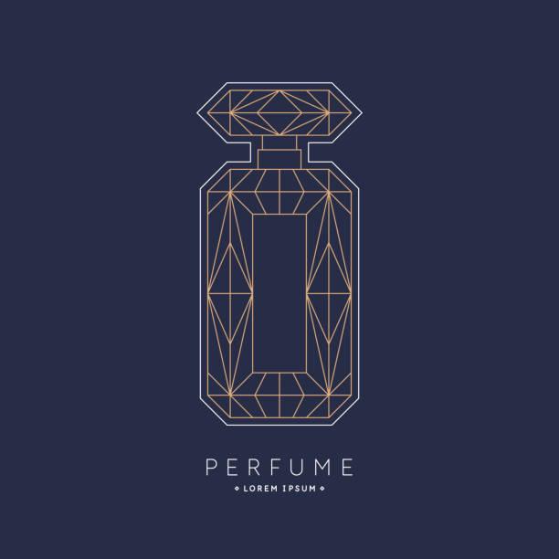 illustrazioni stock, clip art, cartoni animati e icone di tendenza di bottle of perfume. linear image perfume to monogram. - profumi spray