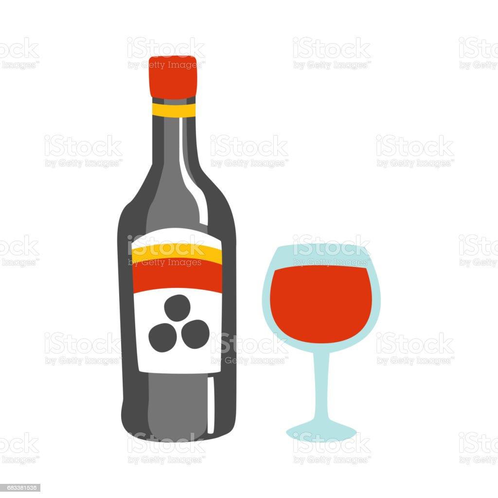 Flasche Rotwein Und Ein Glas Alkohol Trinken Primitive Cartoon Ikone
