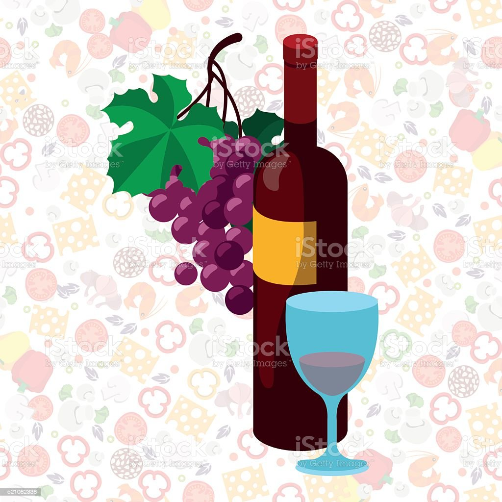 Bottle of red wine, bunch of grapes and a glass. vector art illustration