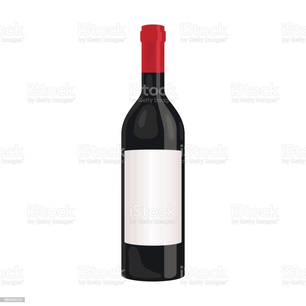 Bouteille d'icône de vin rouge dans le style de dessin animé isolé sur fond blanc. Production de vin symbole vecteur stock illustration. - Illustration vectorielle
