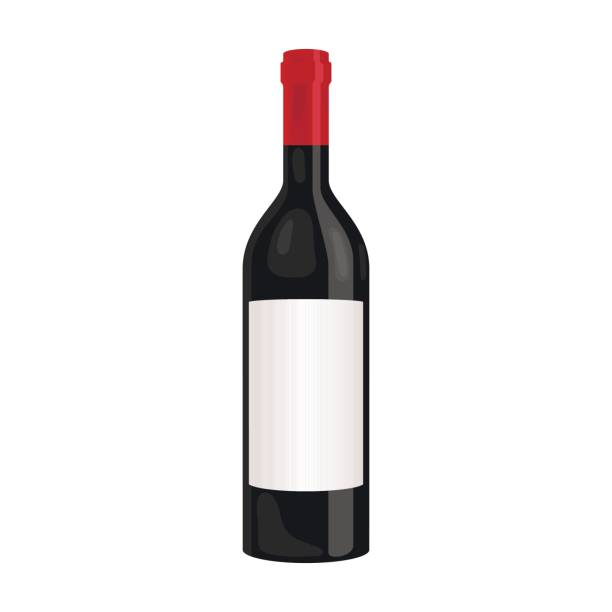Bottle of red wine icon in cartoon style isolated on white background. Wine production symbol stock vector illustration. - illustrazione arte vettoriale