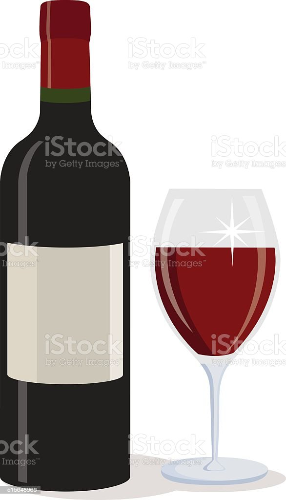 Bottle of red wine with a glass. vector art illustration