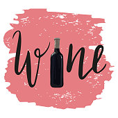 Bottle of red wine with hand drawn lettering