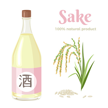 Bottle of sake, spike of rice and grains isolated on white background. Vector illustration of an alcoholic drink. Japanese rice wine in cartoon flat style.