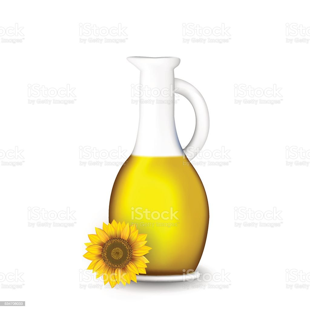 Bottle Of Sunflower Oil With Flower Isolated On White Stock Vector