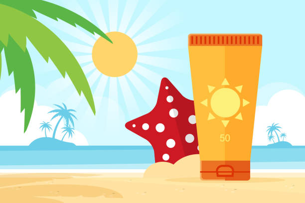 ilustrações de stock, clip art, desenhos animados e ícones de bottle of sunscreen lotion with starfish on sand beach - protetor solar