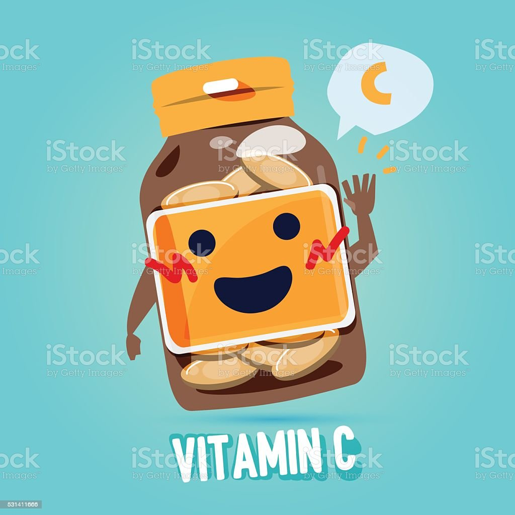 bottle of vitamin c with cab character design. vitamin concept vector art illustration