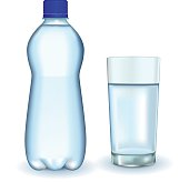 Bottle of water. Glass of water.