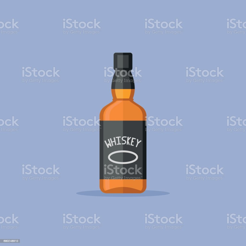 Bottle of whiskey flat style icon. Vector illustration. vector art illustration