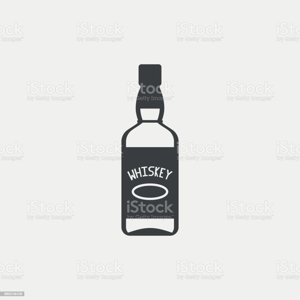 Bottle of whiskey monochrome icon. Vector illustration. vector art illustration