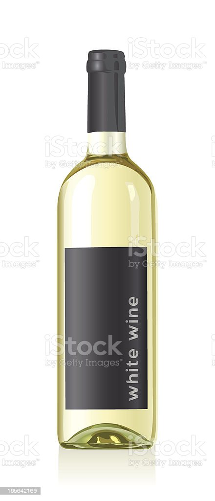 Bottle of white wine with a black label on white background vector art illustration