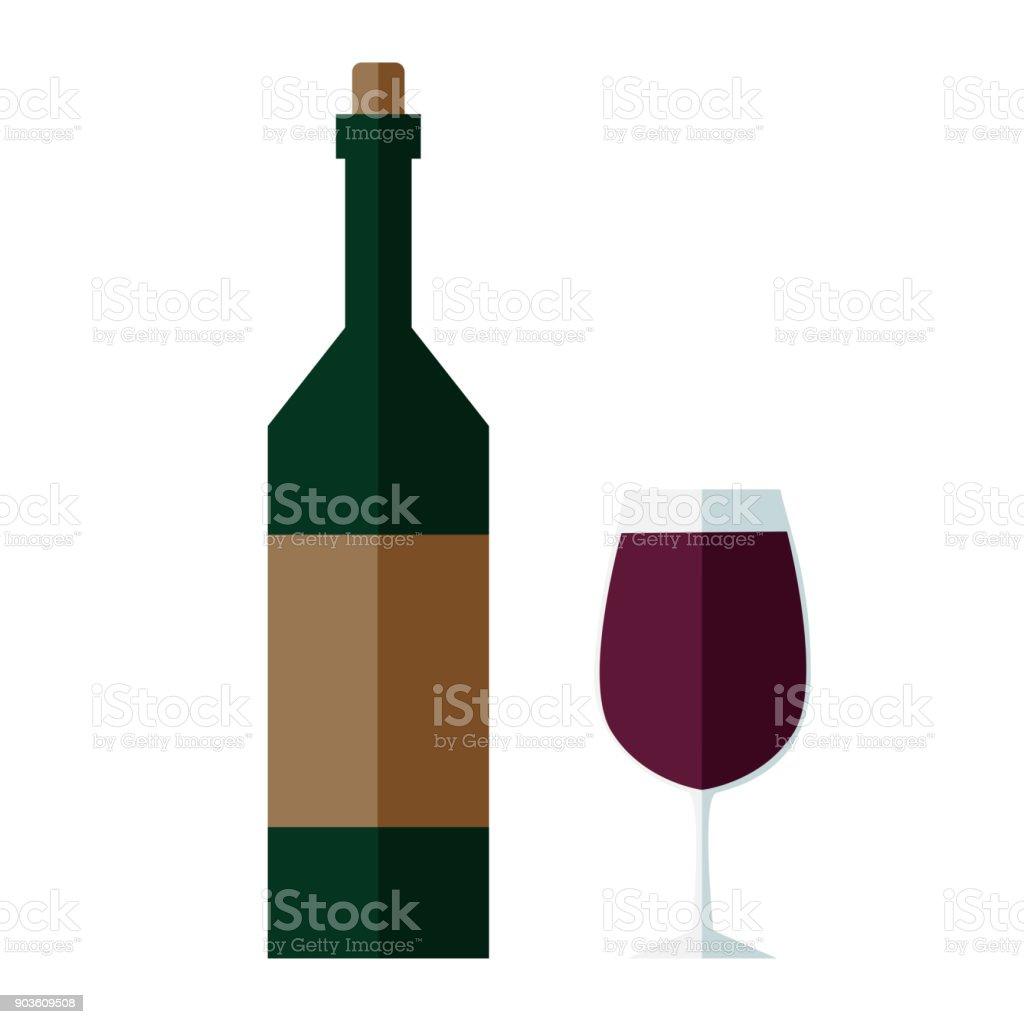 Bouteille De Vin Et Un Verre De Vin Rouge Vecteurs libres de droits et plus d'images vectorielles de Alcool