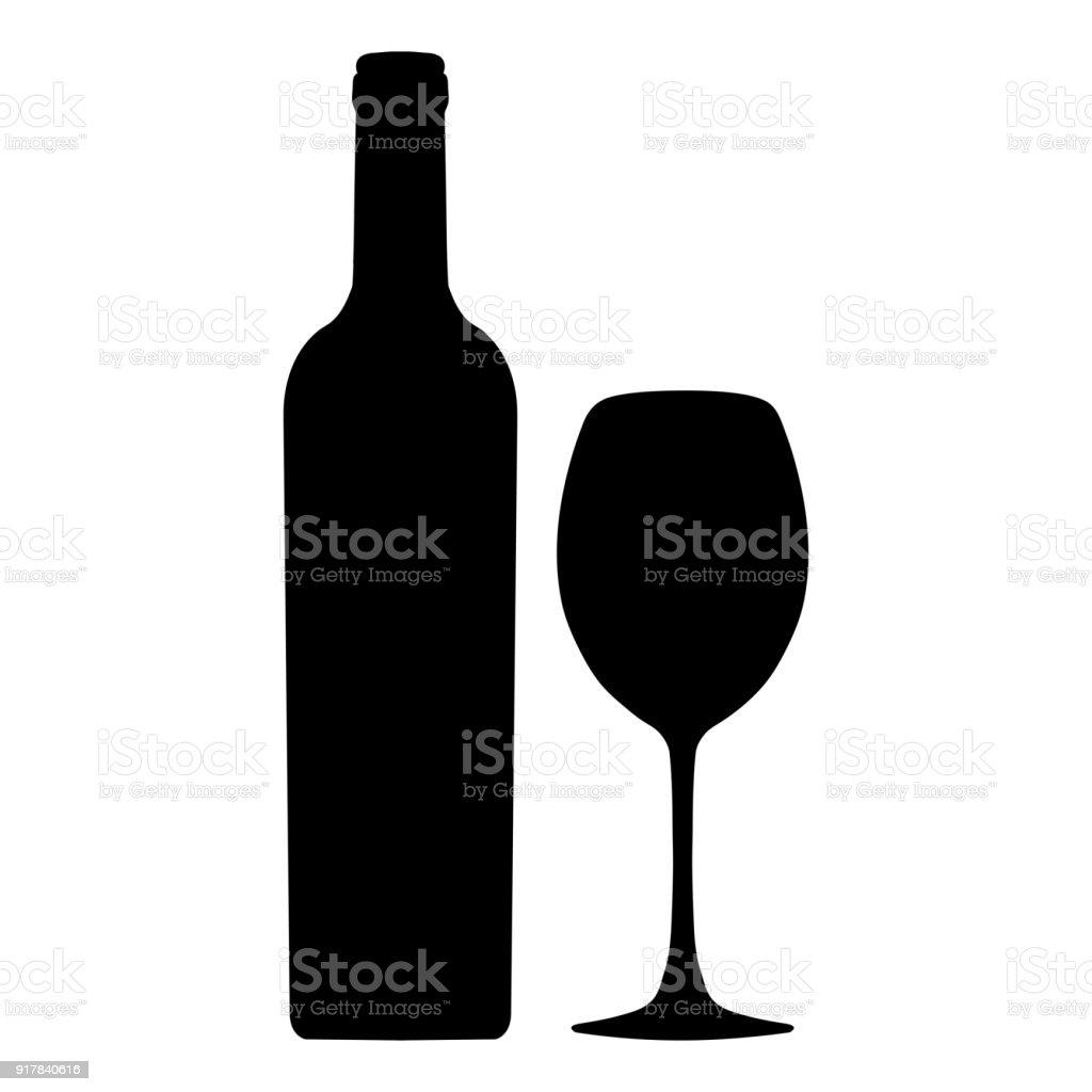 Bouteille De Vin Et Verre À Vin Vecteur Icône Logo Signe Emblème Silhouette Isolé Sur Blanc Vecteurs libres de droits et plus d'images vectorielles de