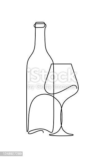 istock Bottle of wine and wineglass 1248927289