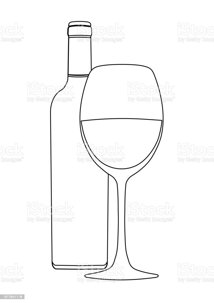 Ilustración de Botella De Vino Y Copa De Vino Vector Esquema Dibujo ...