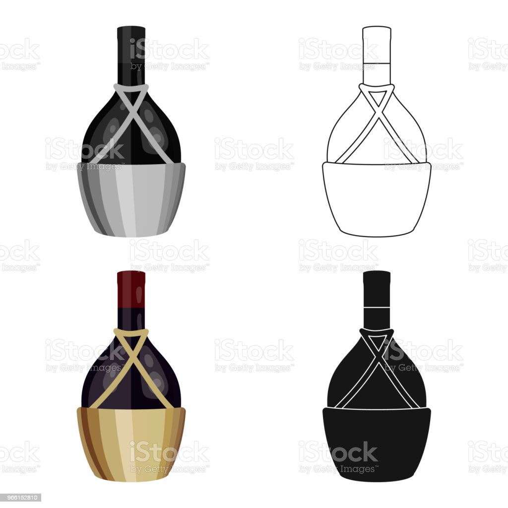 Bottle of wine icon in cartoon style isolated on white background. Wine production symbol stock vector web illustration. - Royalty-free Alcohol stock vector