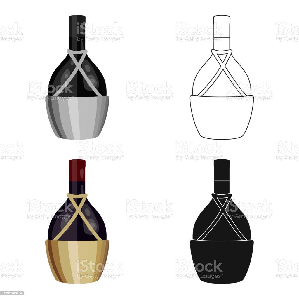 Flaska vin ikonen i tecknad stil isolerad på vit bakgrund. Vinproduktion symbol Lager vektor web illustration. - Royaltyfri Alkohol vektorgrafik