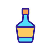 A bottle of wine icon vector. A thin line sign. Isolated contour symbol illustration