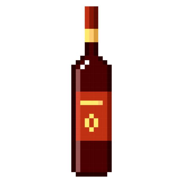 Flasche Wein Pixel Kunst Cartoon retro-Spiel-Stil – Vektorgrafik