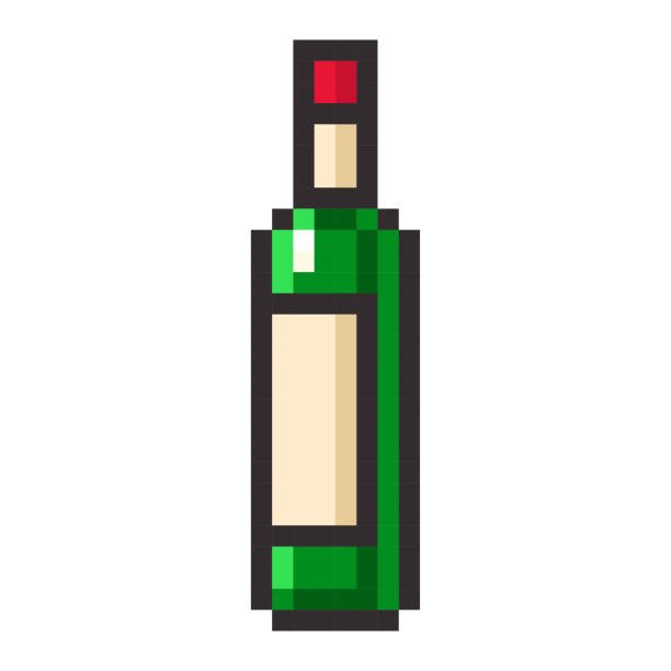 Bottle of wine pixel art cartoon retro game style vector art illustration