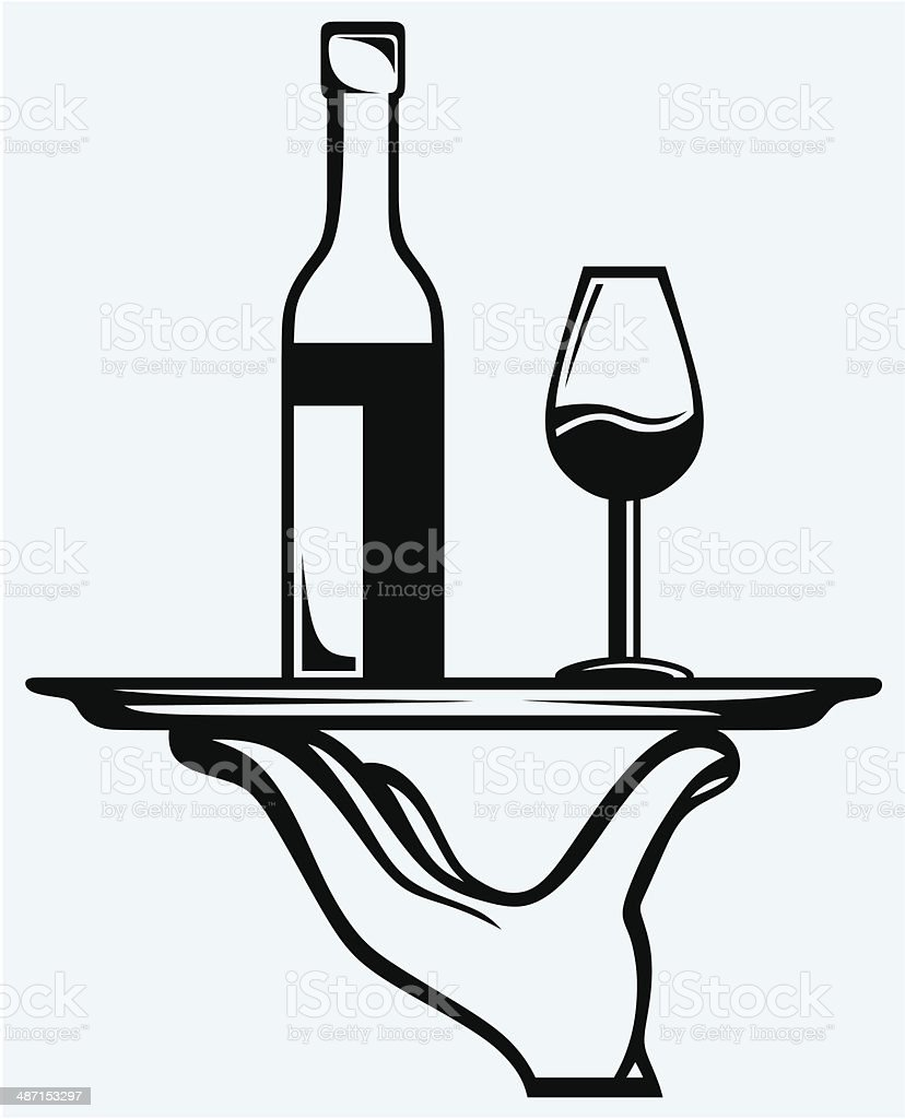 Bottle of wine with a glass on a tray vector art illustration