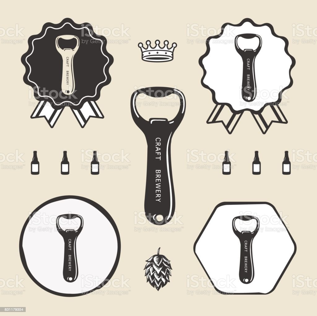 bottle opener vintage retro icon web sign symbol logo label stock vector art 831179354 istock. Black Bedroom Furniture Sets. Home Design Ideas