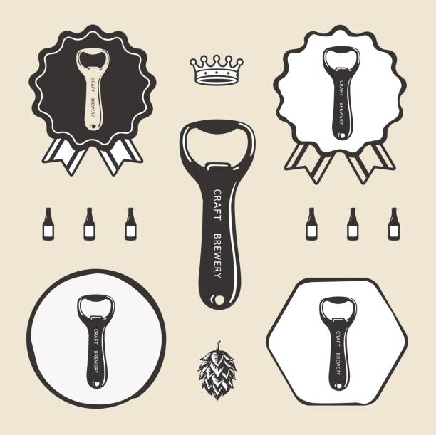 Bottle opener vintage retro icon web sign symbol logo label vector art illustration