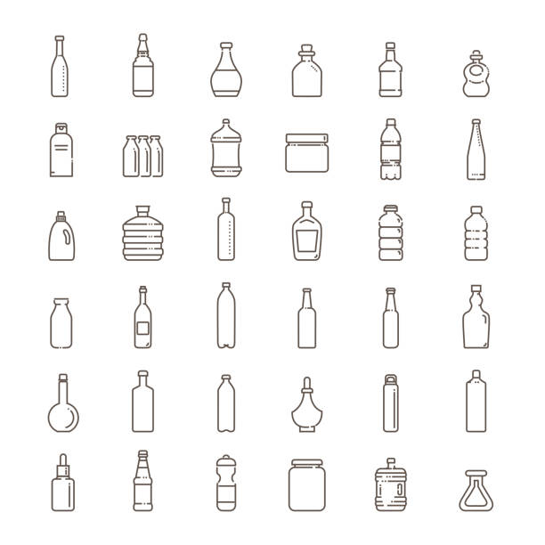 Bottle, packaging collection - vector icons set Set of isolated water and alcohol bottle icon on white background bottle stock illustrations