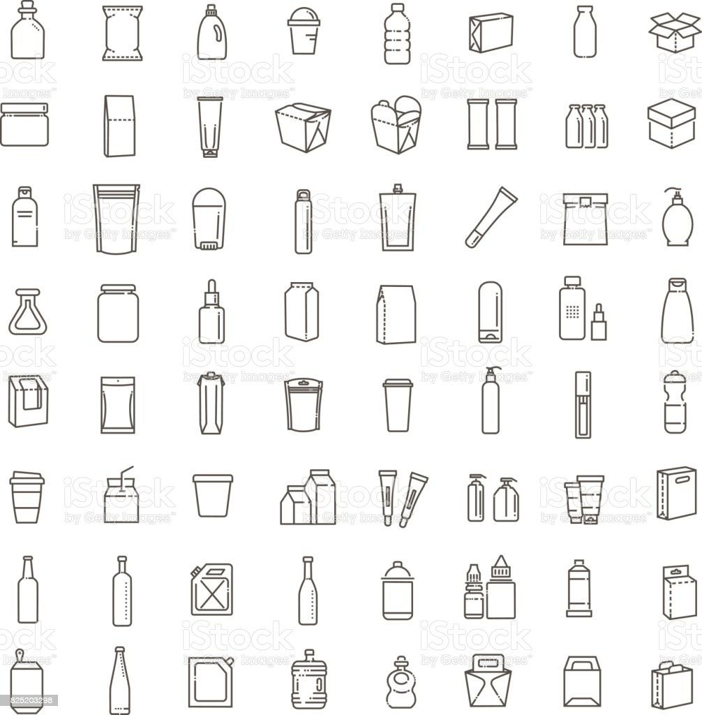 Bottle, packaging collection - vector vector art illustration