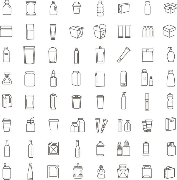 ilustrações de stock, clip art, desenhos animados e ícones de bottle, packaging collection - vector - packaging