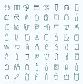Packaging, icons set. For packaging products and materials, vector line illustration.