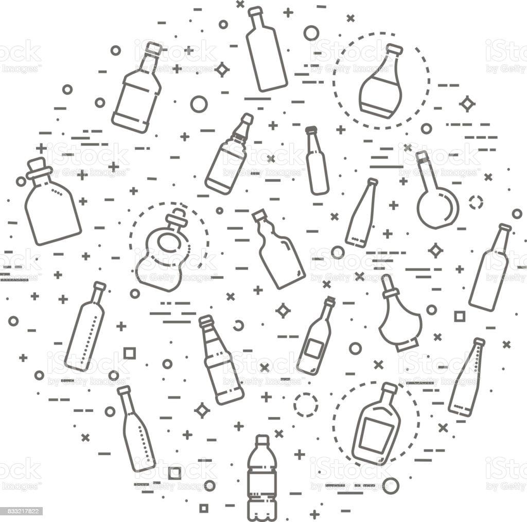 Bottle, packaging collection - vector vector art illustration