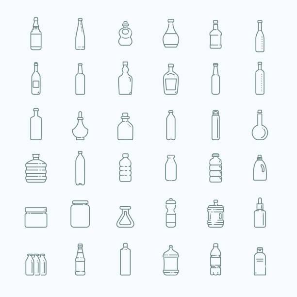 illustrations, cliparts, dessins animés et icônes de bouteille, collection de l'emballage - vector - bouteille d'eau