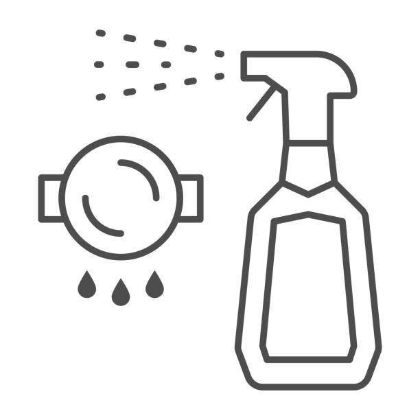 bildbanksillustrationer, clip art samt tecknat material och ikoner med flaskspray renare tunn linje ikon, rengöringsverktyg koncept, spray för fett tecken på vit bakgrund, tvättmedel flytande tvål i plastflaska ikonen i kontur stil för mobil. vektorgrafik. - beautiful floor